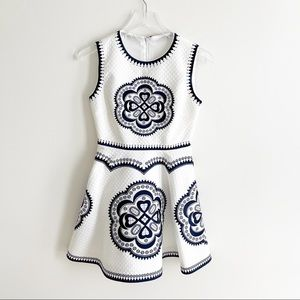 Embroidered Print One Piece Dress